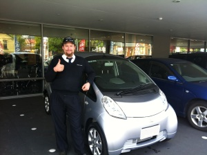 Picking up my new i MiEV, with only 375 km on the clock!